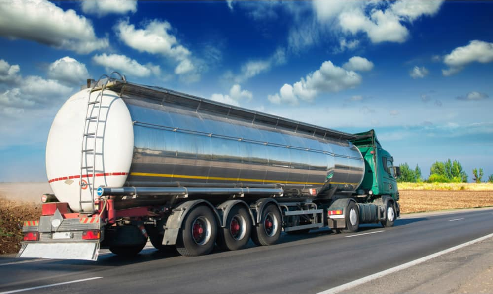 A tanker truck, a type of CMV that requires an additional endorsement